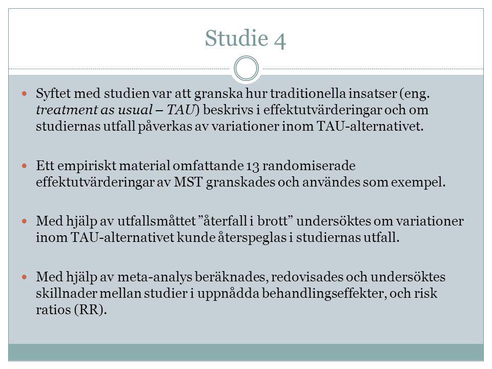 Studie 4  Syftet med studien var att granska hur traditionella insatser (eng. treatment as usual – TAU) beskrivs i effektutvärderingar och om studier