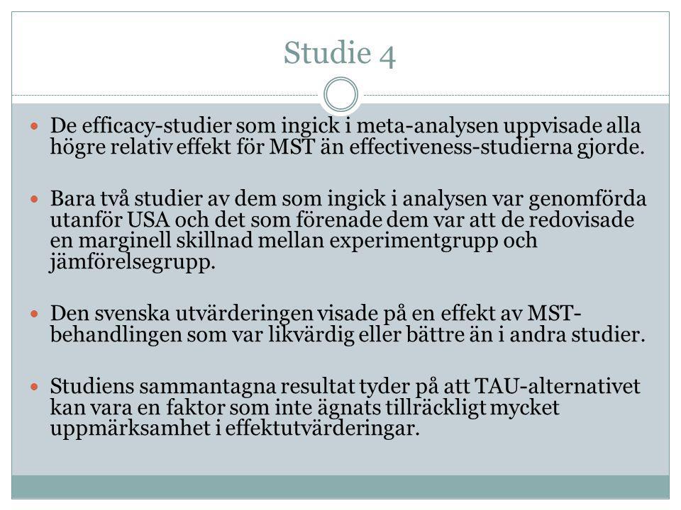 Studie 4  De efficacy-studier som ingick i meta-analysen uppvisade alla högre relativ effekt för MST än effectiveness-studierna gjorde.  Bara två st