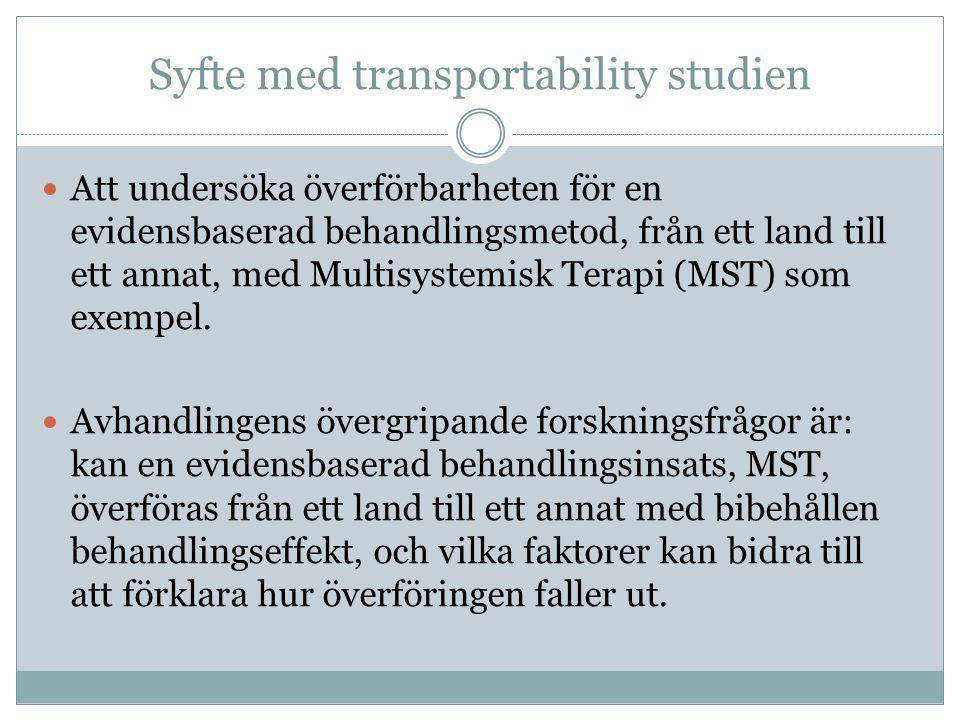Syfte med transportability studien  Att undersöka överförbarheten för en evidensbaserad behandlingsmetod, från ett land till ett annat, med Multisyst