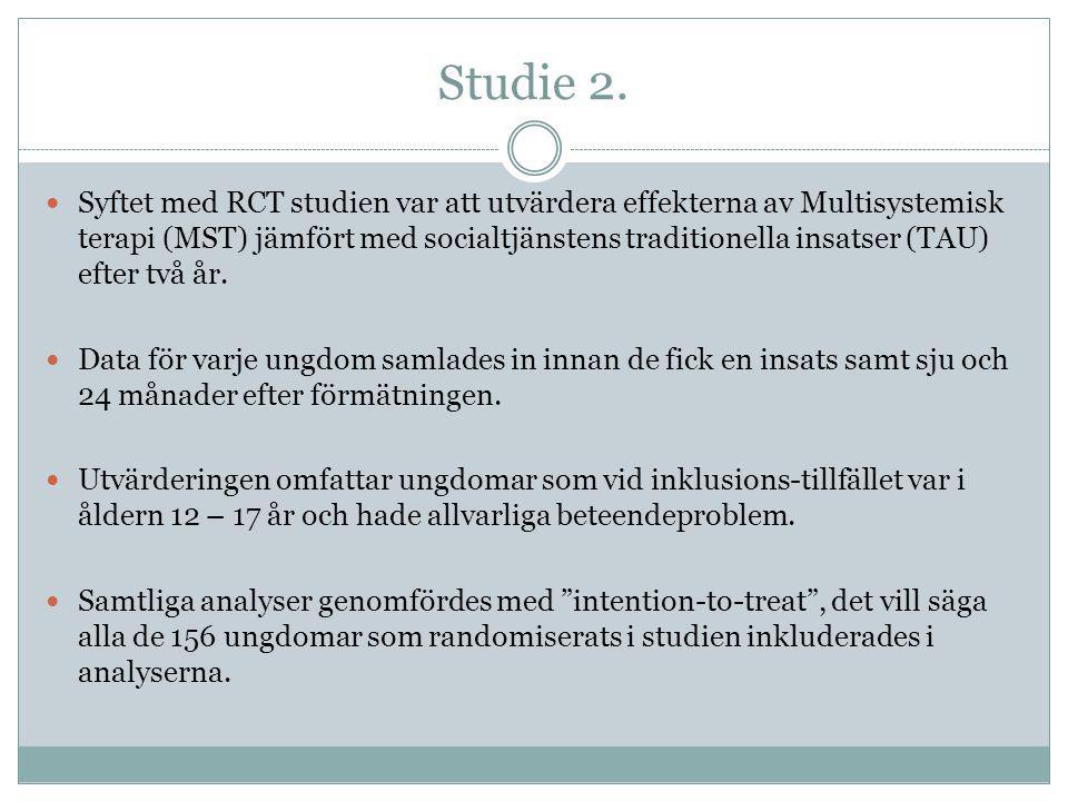 Studie 2.  Syftet med RCT studien var att utvärdera effekterna av Multisystemisk terapi (MST) jämfört med socialtjänstens traditionella insatser (TAU