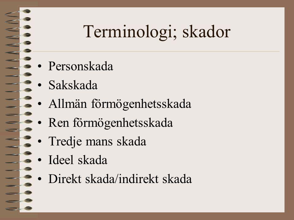 Terminologi; skador •Personskada •Sakskada •Allmän förmögenhetsskada •Ren förmögenhetsskada •Tredje mans skada •Ideel skada •Direkt skada/indirekt skada