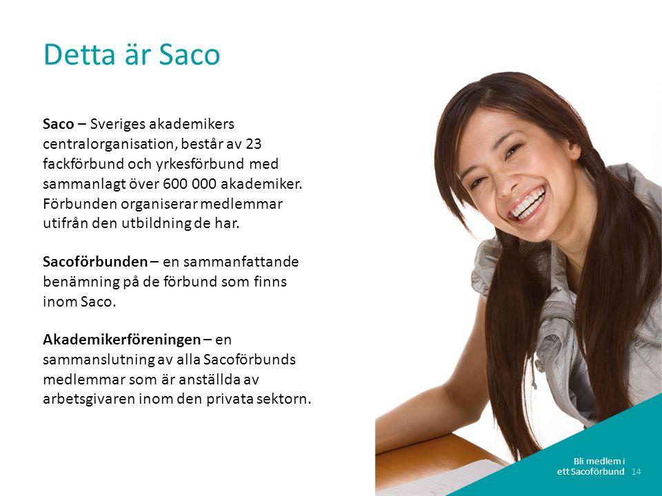 14 Bli medlem i ett Sacoförbund Detta är Saco Saco – Sveriges akademikers centralorganisation, består av 23 fackförbund och yrkesförbund med sammanla