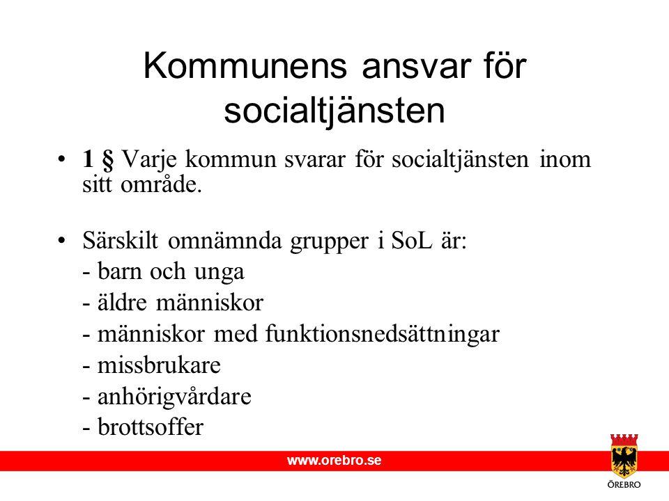 www.orebro.se Kommunens ansvar för socialtjänsten •1 § Varje kommun svarar för socialtjänsten inom sitt område. •Särskilt omnämnda grupper i SoL är: -