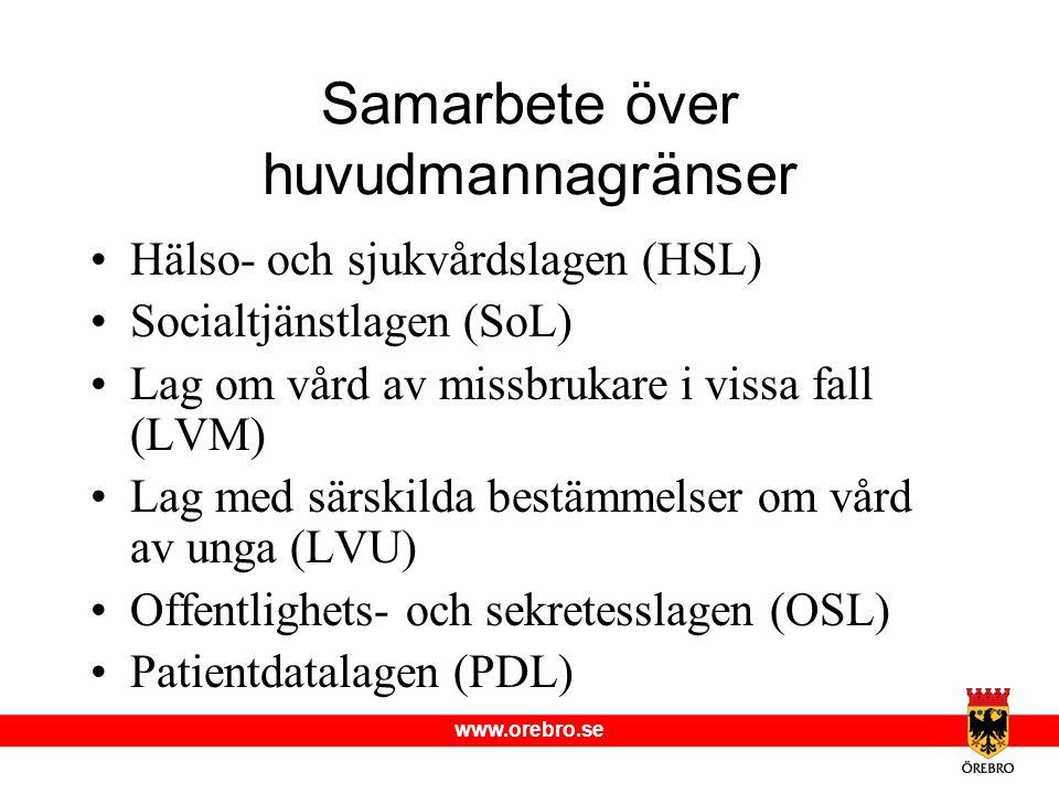 www.orebro.se Samarbete över huvudmannagränser •Hälso- och sjukvårdslagen (HSL) •Socialtjänstlagen (SoL) •Lag om vård av missbrukare i vissa fall (LVM