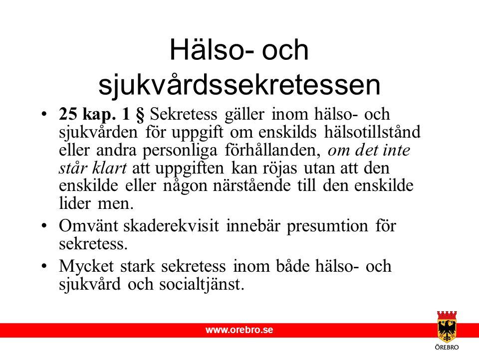 www.orebro.se Hälso- och sjukvårdssekretessen •25 kap. 1 § Sekretess gäller inom hälso- och sjukvården för uppgift om enskilds hälsotillstånd eller an