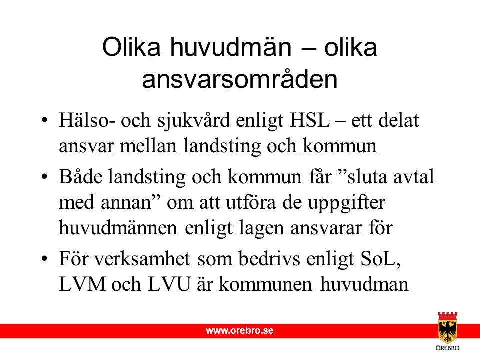 www.orebro.se Olika huvudmän – olika ansvarsområden •Hälso- och sjukvård enligt HSL – ett delat ansvar mellan landsting och kommun •Både landsting och