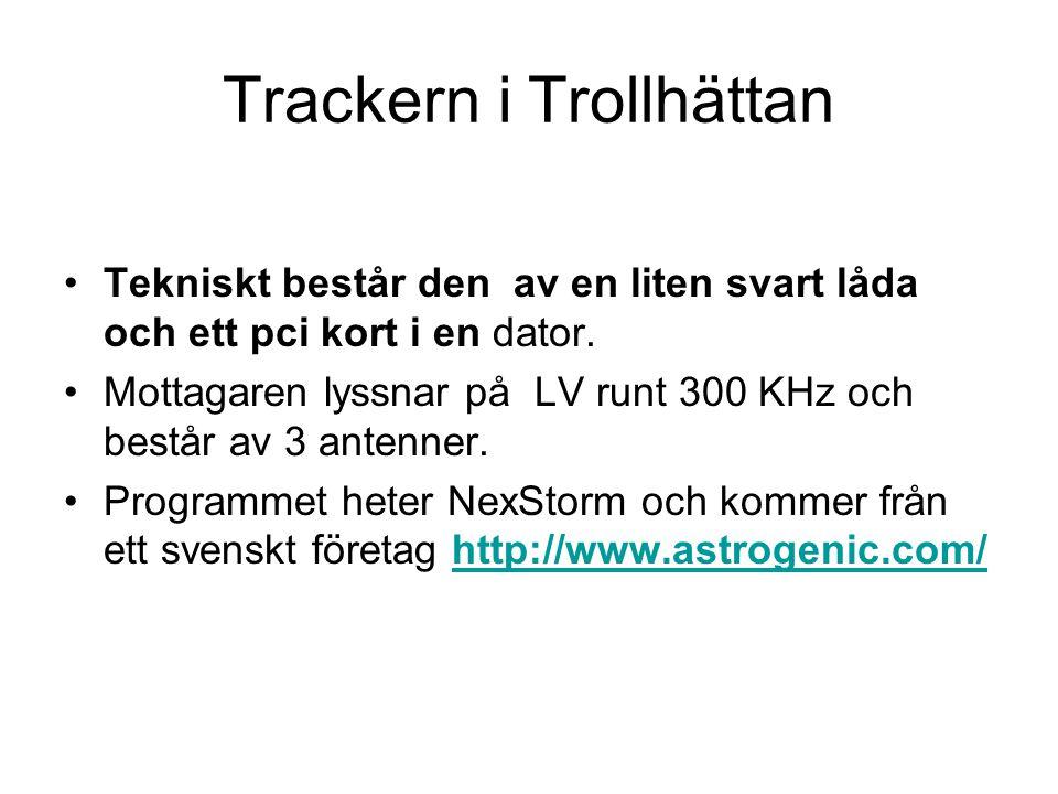 Trackern i Trollhättan •Tekniskt består den av en liten svart låda och ett pci kort i en dator. •Mottagaren lyssnar på LV runt 300 KHz och består av 3
