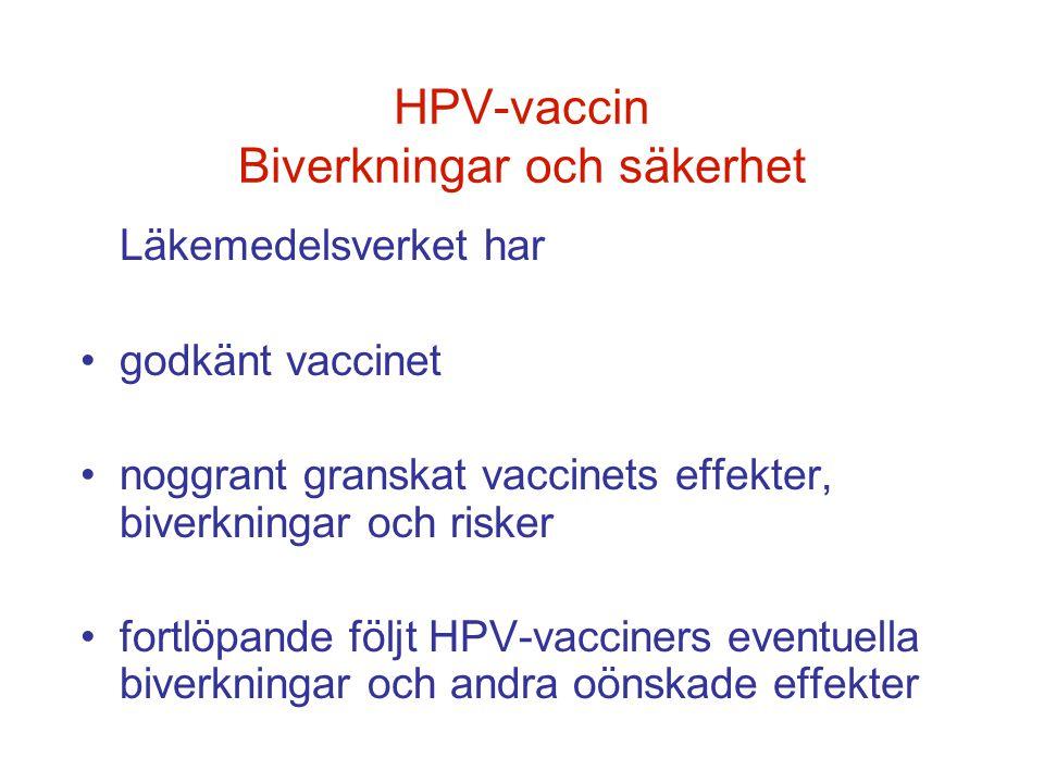 HPV-vaccin Biverkningar och säkerhet Läkemedelsverket har •godkänt vaccinet •noggrant granskat vaccinets effekter, biverkningar och risker •fortlöpand