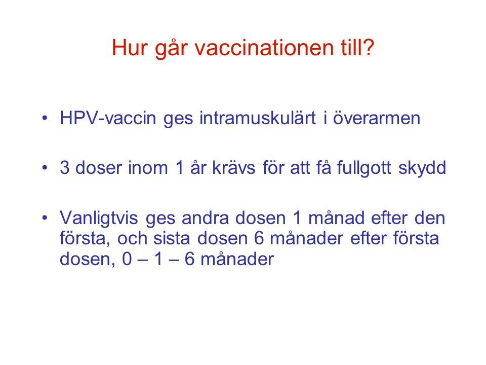 Hur går vaccinationen till? •HPV-vaccin ges intramuskulärt i överarmen •3 doser inom 1 år krävs för att få fullgott skydd •Vanligtvis ges andra dosen