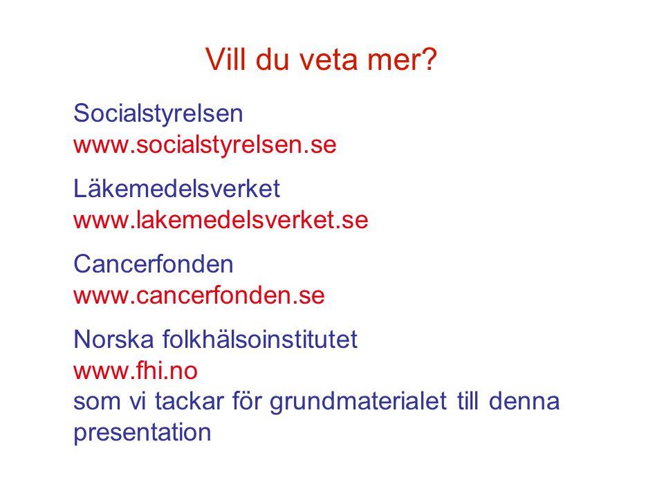 Vill du veta mer? Socialstyrelsen www.socialstyrelsen.se Läkemedelsverket www.lakemedelsverket.se Cancerfonden www.cancerfonden.se Norska folkhälsoins
