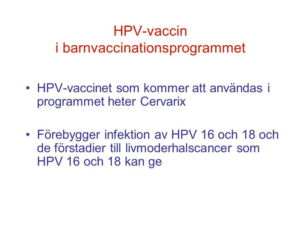 HPV-vaccin i barnvaccinationsprogrammet •HPV-vaccinet som kommer att användas i programmet heter Cervarix •Förebygger infektion av HPV 16 och 18 och d
