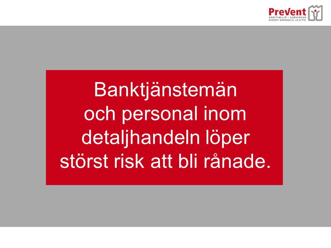 Banktjänstemän och personal inom detaljhandeln löper störst risk att bli rånade.