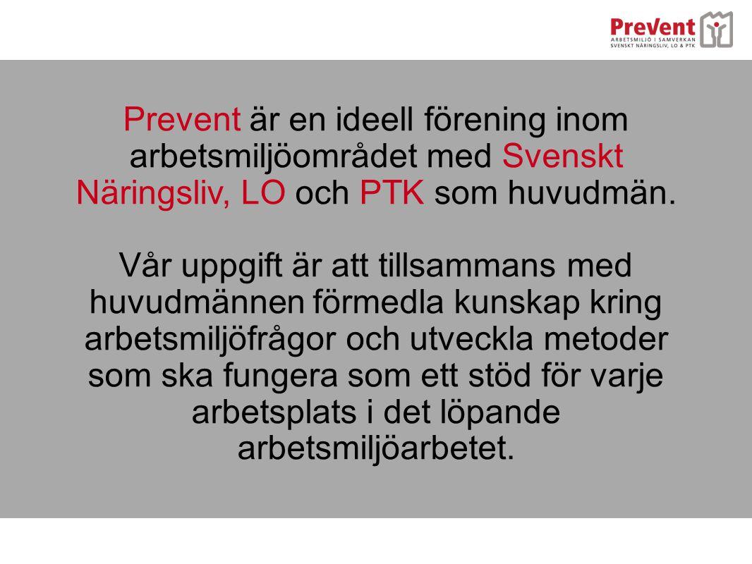 Prevent är en ideell förening inom arbetsmiljöområdet med Svenskt Näringsliv, LO och PTK som huvudmän. Vår uppgift är att tillsammans med huvudmännen