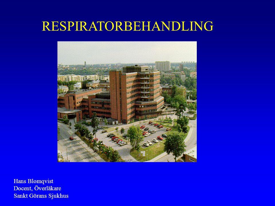 RESPIRATORBEHANDLING Hans Blomqvist Docent, Överläkare Sankt Görans Sjukhus