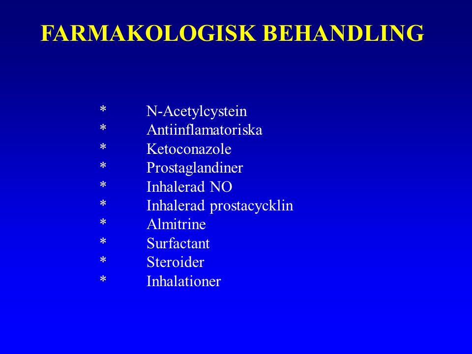 FARMAKOLOGISK BEHANDLING *N-Acetylcystein *Antiinflamatoriska *Ketoconazole *Prostaglandiner *Inhalerad NO *Inhalerad prostacycklin *Almitrine *Surfactant *Steroider *Inhalationer