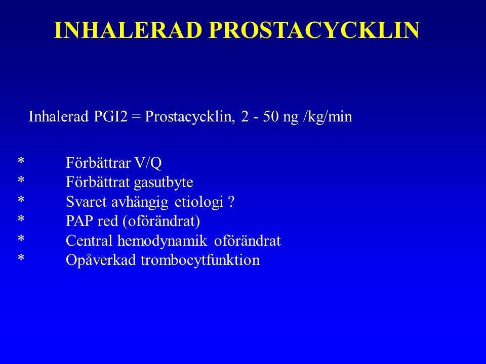 INHALERAD PROSTACYCKLIN Inhalerad PGI2 = Prostacycklin, 2 - 50 ng /kg/min *Förbättrar V/Q *Förbättrat gasutbyte *Svaret avhängig etiologi .