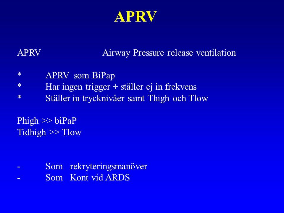APRV APRVAirway Pressure release ventilation *APRVsom BiPap *Har ingen trigger + ställer ej in frekvens *Ställer in trycknivåer samt Thigh och Tlow Phigh >> biPaP Tidhigh >> Tlow -Som rekryteringsmanöver -Som Kont vid ARDS