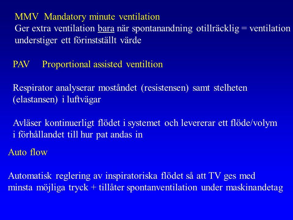 PAV Proportional assisted ventiltion Respirator analyserar moståndet (resistensen) samt stelheten (elastansen) i luftvägar Avläser kontinuerligt flödet i systemet och levererar ett flöde/volym i förhållandet till hur pat andas in Auto flow Automatisk reglering av inspiratoriska flödet så att TV ges med minsta möjliga tryck + tillåter spontanventilation under maskinandetag MMVMandatory minute ventilation Ger extra ventilation bara när spontanandning otillräcklig = ventilation understiger ett förinstställt värde