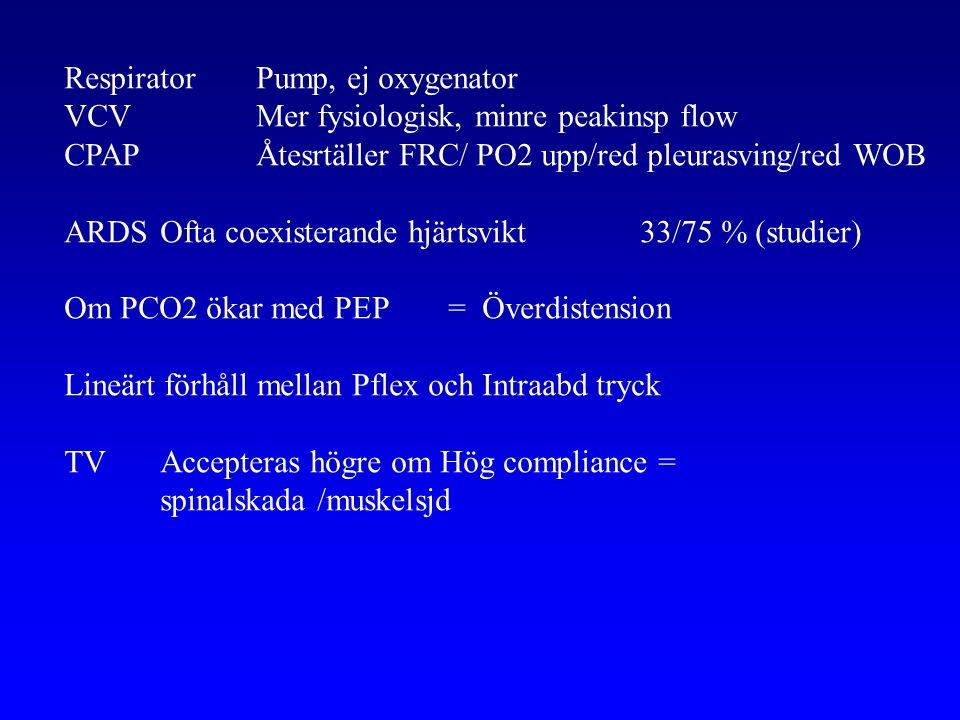 Respirator Pump, ej oxygenator VCVMer fysiologisk, minre peakinsp flow CPAPÅtesrtäller FRC/ PO2 upp/red pleurasving/red WOB ARDSOfta coexisterande hjärtsvikt33/75 % (studier) Om PCO2 ökar med PEP = Överdistension Lineärt förhåll mellan Pflex och Intraabd tryck TVAccepteras högre om Hög compliance = spinalskada /muskelsjd