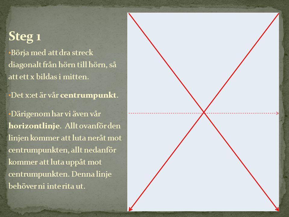 • Börja med att dra streck diagonalt från hörn till hörn, så att ett x bildas i mitten. • Det x:et är vår centrumpunkt. • Därigenom har vi även vår ho