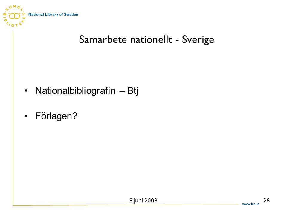 www.kb.se 9 juni 200828 Samarbete nationellt - Sverige •Nationalbibliografin – Btj •Förlagen?