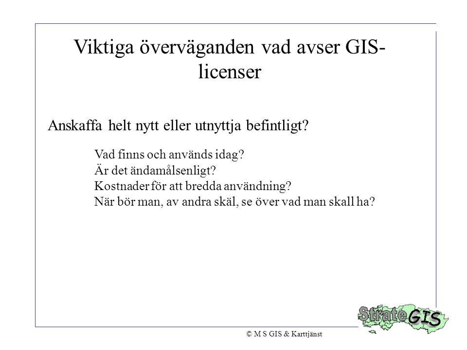 Viktiga överväganden vad avser GIS- licenser Anskaffa helt nytt eller utnyttja befintligt? Vad finns och används idag? Är det ändamålsenligt? Kostnade