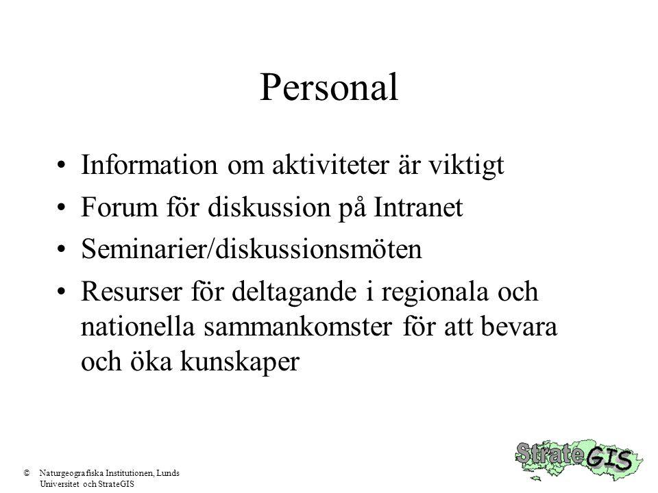 Personal •Information om aktiviteter är viktigt •Forum för diskussion på Intranet •Seminarier/diskussionsmöten •Resurser för deltagande i regionala oc