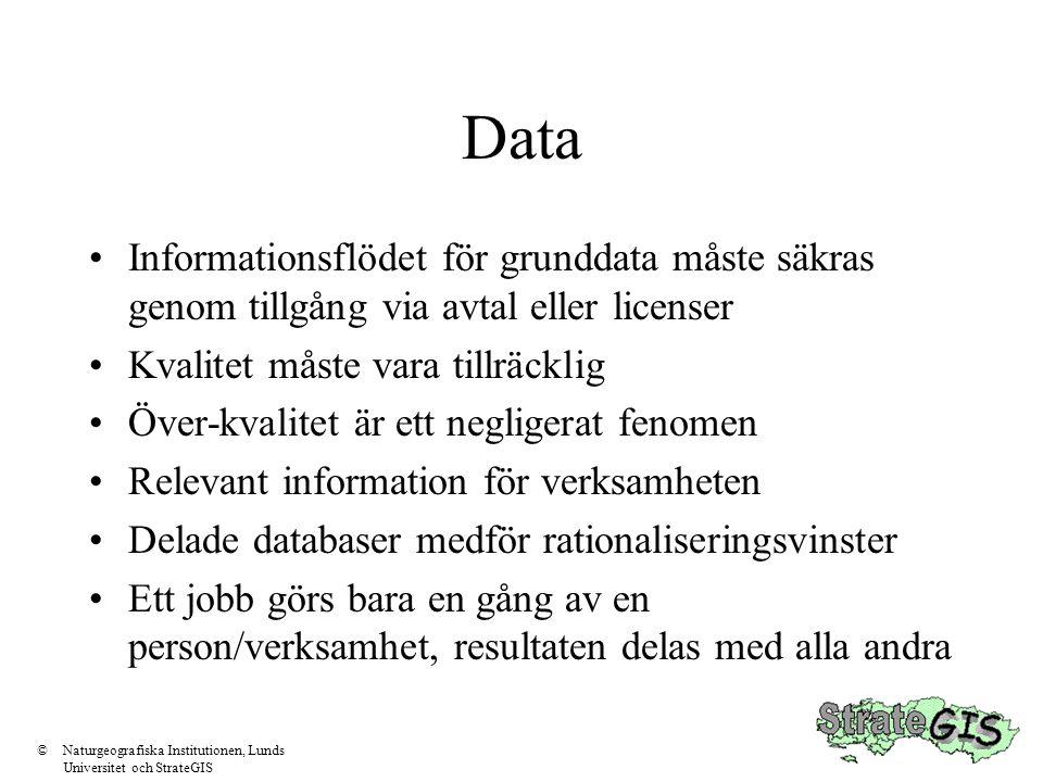 Data •Informationsflödet för grunddata måste säkras genom tillgång via avtal eller licenser •Kvalitet måste vara tillräcklig •Över-kvalitet är ett neg