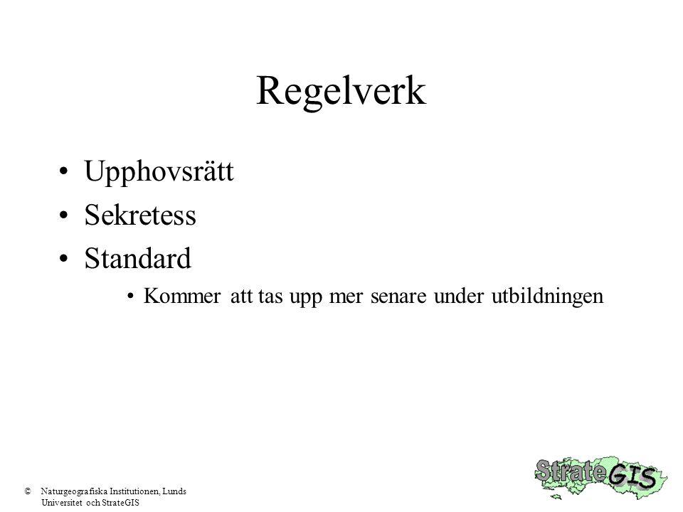 Regelverk •Upphovsrätt •Sekretess •Standard •Kommer att tas upp mer senare under utbildningen ©Naturgeografiska Institutionen, Lunds Universitet och S