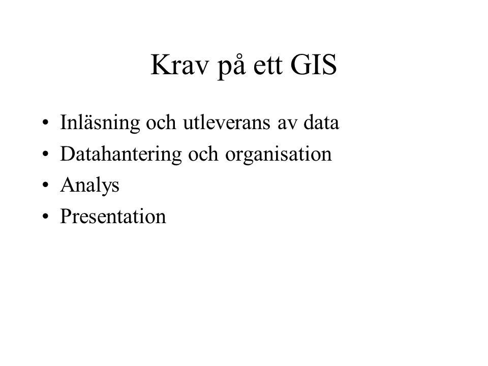 Krav på ett GIS •Inläsning och utleverans av data •Datahantering och organisation •Analys •Presentation