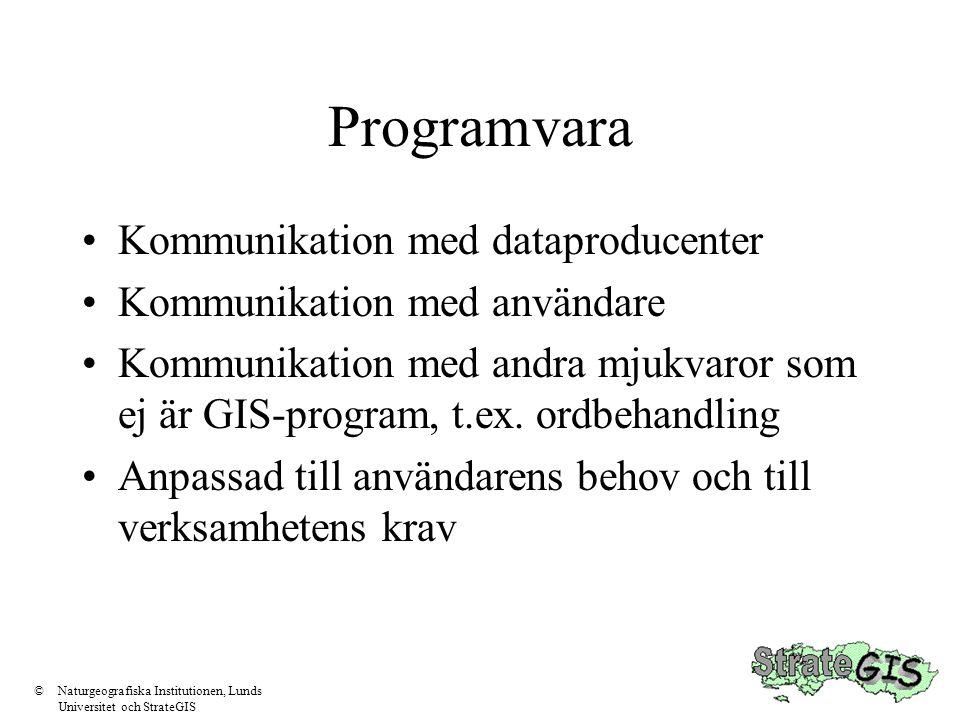 Programvara •Kommunikation med dataproducenter •Kommunikation med användare •Kommunikation med andra mjukvaror som ej är GIS-program, t.ex. ordbehandl