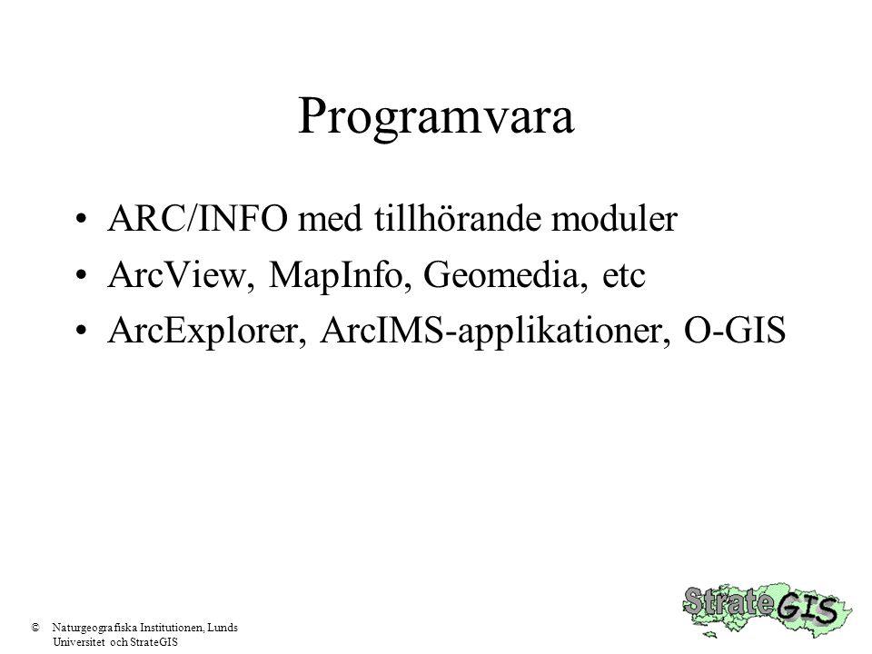 Programvara •ARC/INFO med tillhörande moduler •ArcView, MapInfo, Geomedia, etc •ArcExplorer, ArcIMS-applikationer, O-GIS ©Naturgeografiska Institution