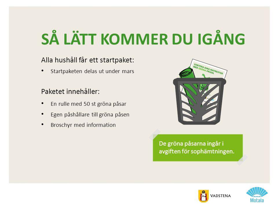 SÅ LÄTT KOMMER DU IGÅNG Alla hushåll får ett startpaket: • Startpaketen delas ut under mars Paketet innehåller: • En rulle med 50 st gröna påsar • Ege