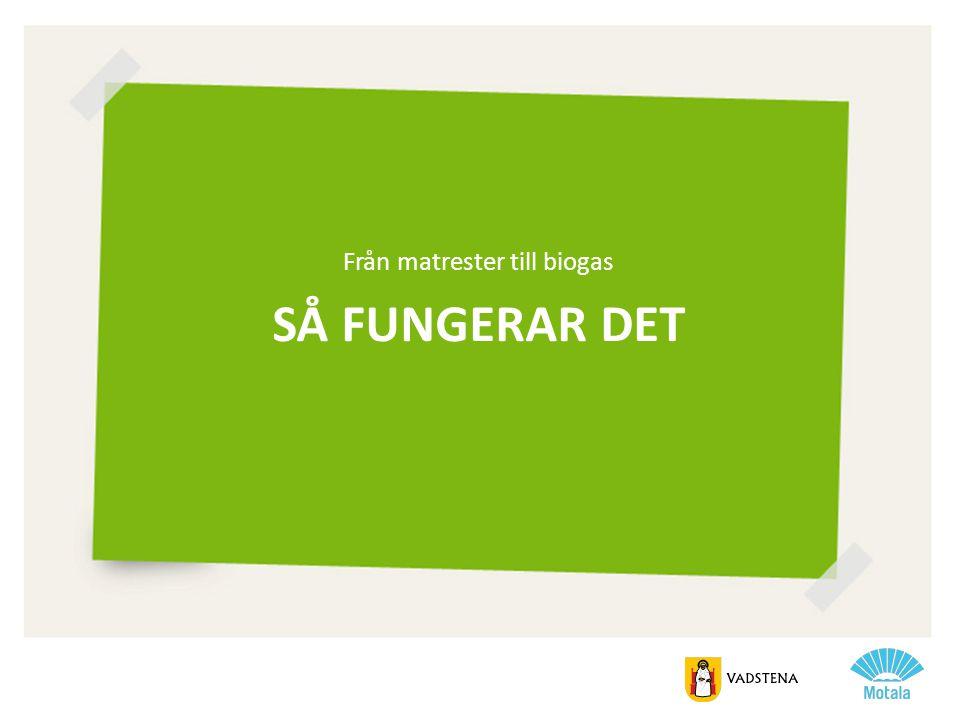 SÅ FUNGERAR DET Från matrester till biogas