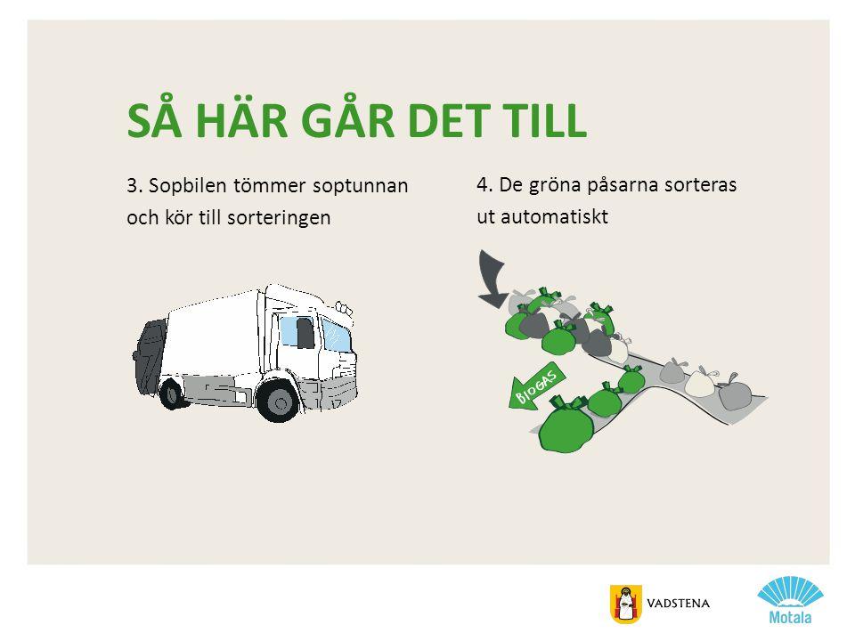 SÅ HÄR GÅR DET TILL 3. Sopbilen tömmer soptunnan och kör till sorteringen 4. De gröna påsarna sorteras ut automatiskt