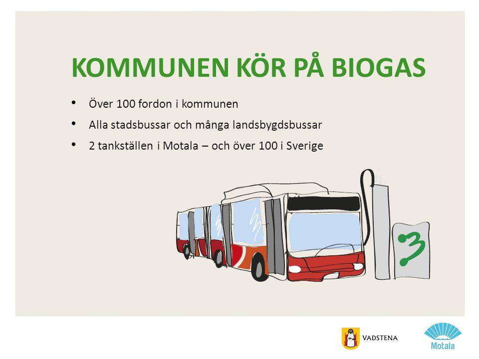 KOMMUNEN KÖR PÅ BIOGAS • Över 100 fordon i kommunen • Alla stadsbussar och många landsbygdsbussar • 2 tankställen i Motala – och över 100 i Sverige