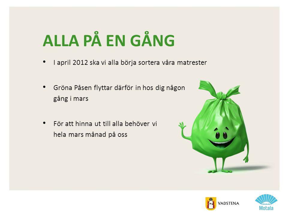 ALLA PÅ EN GÅNG • I april 2012 ska vi alla börja sortera våra matrester • Gröna Påsen flyttar därför in hos dig någon gång i mars • För att hinna ut t