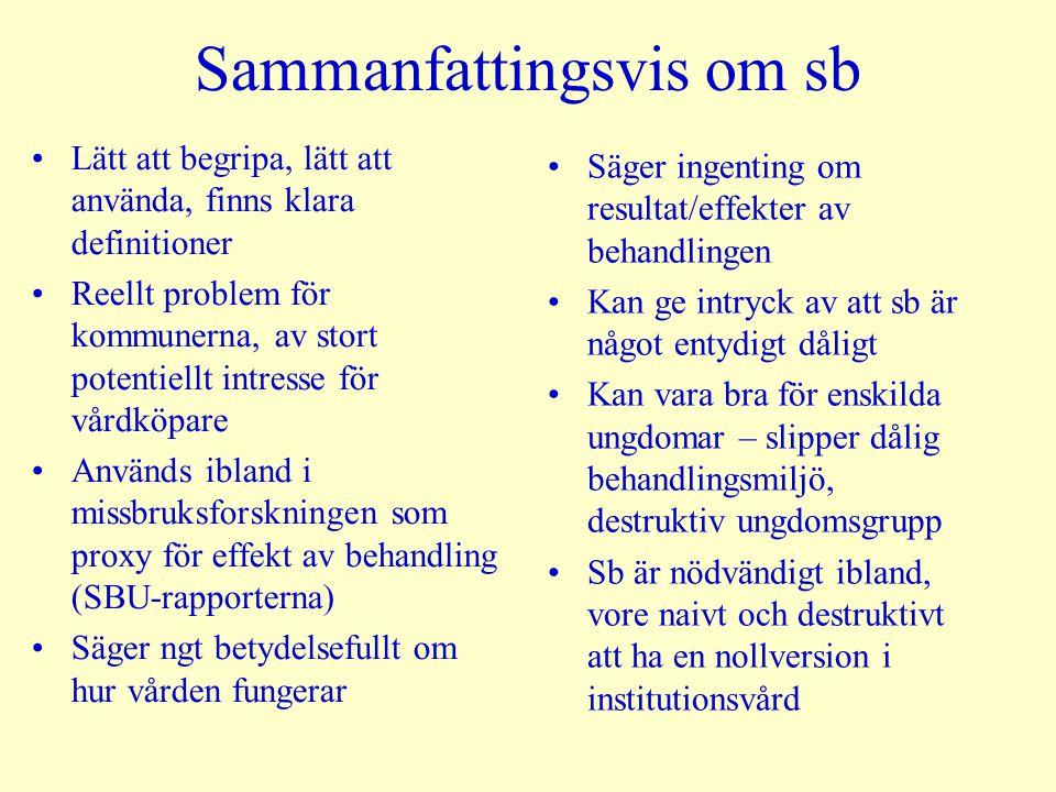 Sammanfattingsvis om sb •Lätt att begripa, lätt att använda, finns klara definitioner •Reellt problem för kommunerna, av stort potentiellt intresse fö