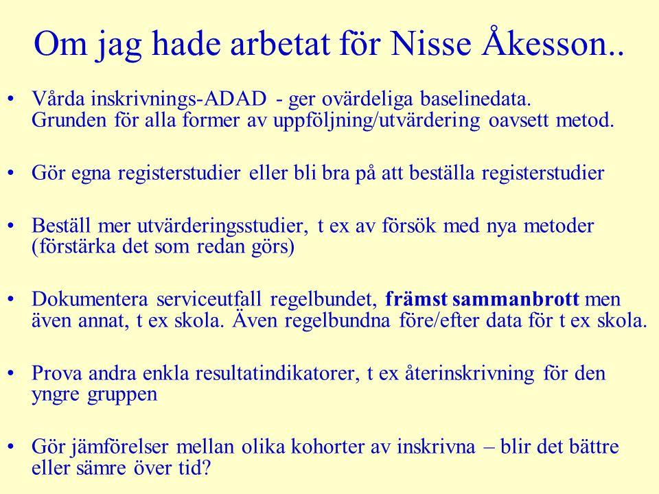 Om jag hade arbetat för Nisse Åkesson.. •Vårda inskrivnings-ADAD - ger ovärdeliga baselinedata. Grunden för alla former av uppföljning/utvärdering oav