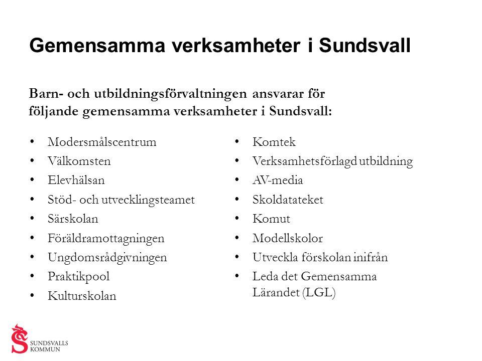 Gemensamma verksamheter i Sundsvall Barn- och utbildningsförvaltningen ansvarar för följande gemensamma verksamheter i Sundsvall: • Modersmålscentrum