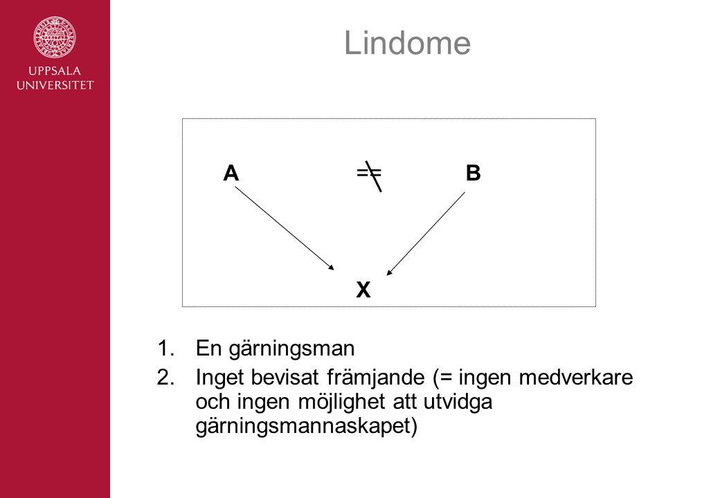 Lindome A== B X 1.En gärningsman 2.Inget bevisat främjande (= ingen medverkare och ingen möjlighet att utvidga gärningsmannaskapet)