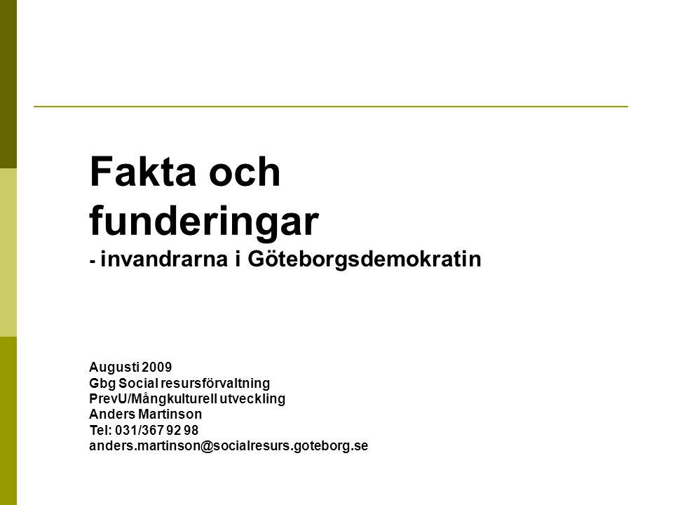 Fakta och funderingar - invandrarna i Göteborgsdemokratin Augusti 2009 Gbg Social resursförvaltning PrevU/Mångkulturell utveckling Anders Martinson Tel: 031/367 92 98 anders.martinson@socialresurs.goteborg.se