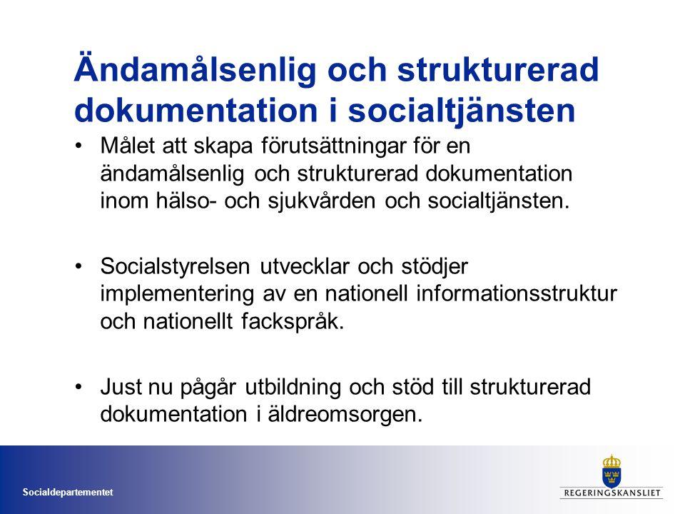 Socialdepartementet Ändamålsenlig och strukturerad dokumentation i socialtjänsten •Målet att skapa förutsättningar för en ändamålsenlig och strukturer
