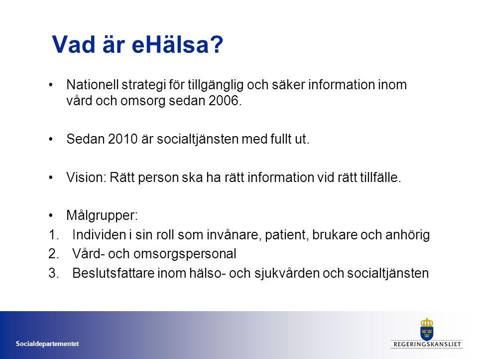 Socialdepartementet Vad är eHälsa? •Nationell strategi för tillgänglig och säker information inom vård och omsorg sedan 2006. •Sedan 2010 är socialtjä