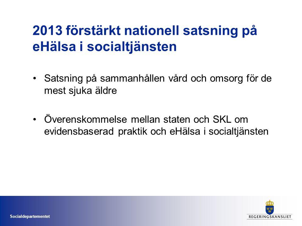 Socialdepartementet 2013 förstärkt nationell satsning på eHälsa i socialtjänsten •Satsning på sammanhållen vård och omsorg för de mest sjuka äldre •Öv