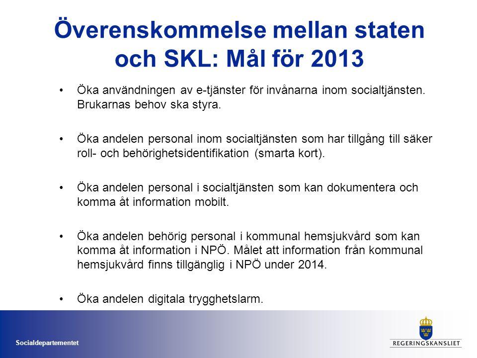 Socialdepartementet Överenskommelse mellan staten och SKL: Mål för 2013 •Öka användningen av e-tjänster för invånarna inom socialtjänsten. Brukarnas b