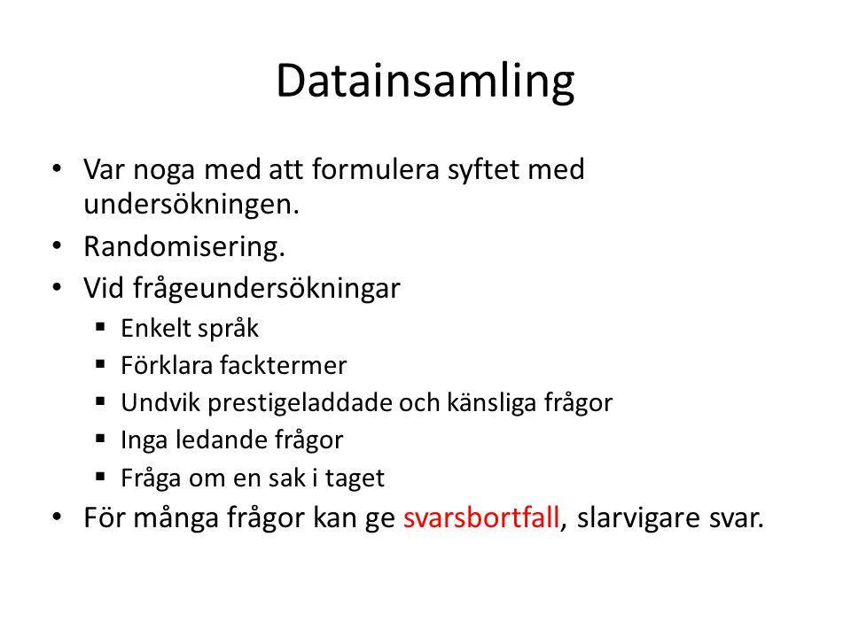 Datainsamling • Var noga med att formulera syftet med undersökningen. • Randomisering. • Vid frågeundersökningar  Enkelt språk  Förklara facktermer