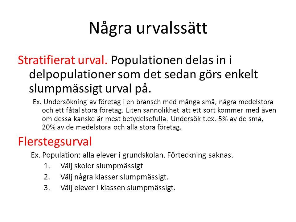 Några urvalssätt Stratifierat urval. Populationen delas in i delpopulationer som det sedan görs enkelt slumpmässigt urval på. Ex. Undersökning av före