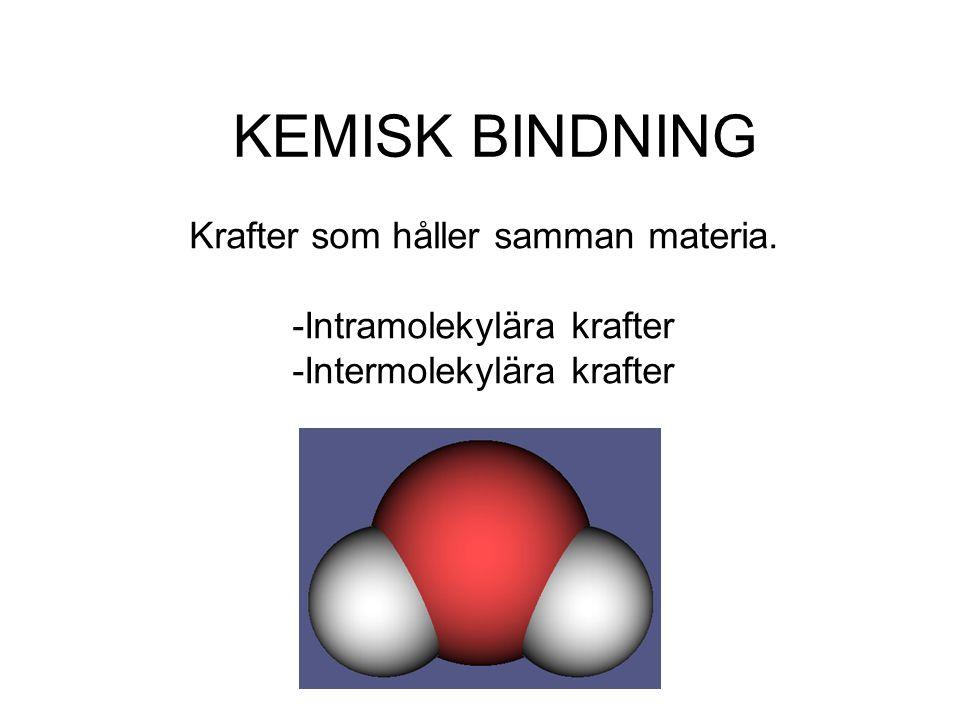 Intramolekylära krafter (krafter som verkar inom molekylen) •-Jonbindning •-Kovalent bindning •-Polär kovalent bindning •-Metallbindning