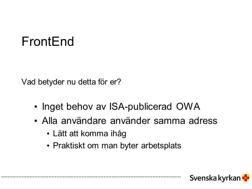 FrontEnd Vad betyder nu detta för er? • Inget behov av ISA-publicerad OWA • Alla användare använder samma adress • Lätt att komma ihåg • Praktiskt om